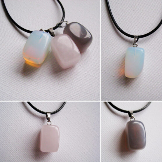 Valik kaelaehteid: oonüks, hall opaal, roosa kvarts
